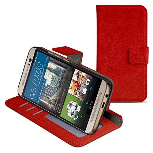 eFabrik Case für HTC One M9 und HTC One M9 Prime Camera Edition Schutzhülle Cover Handy Zubehör Tasche m. Aufsteller Innenfächer Leder-Optik rot