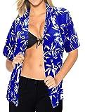 LA LEELA Manches Courtes Bouton vers Le Bas Beachwear Hawa�en Chemise de Robe Chemisier Couvercle Sup�Rieur XXL Dames