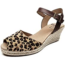 Beatria - Sandalias Cuña Esparto 5 Cuerdas Animal Print Leopardo Mujer