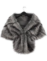 f0fd6ccd9e7e Vlunt Élégant Châle Femme Fausse Fourrure de Renard Mode Chaud Hiver Faux  Fur Femme Cape Fourrure