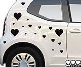 Kleb-drauf® - 18 Herzen/Weiß - glänzend - Aufkleber zur Dekoration von Autos, Motorrädern und allen anderen glatten Oberflächen im Außenbereich; aus 19 Farben wählbar; in matt oder glänzend