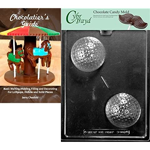Cybrtrayd Large Golf Ball Sports Chocolate Candy Mold with Chocolatier's Guide Instructions Book Manual by