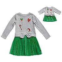 فستان Dollie & Me بناتي مطبوع مع ملابس الدمية المطابقة Grey/Green 6