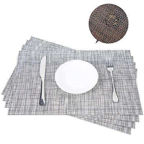 Aspire 4 pcs en PVC à carreaux Isolation thermique pour table de cuisine, 2grey, Taille unique