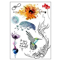 BESTPICKS Large Waterproof Fashion Temporary Tattoo Sticker - BEAUTIFUL, ROSE, FEATHER, BIRDS - 14.5 X 21 cm Sheet