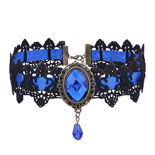 TIREOW Damen Maedchen Gothic Halsband mit Anhänger Lolita Spitzen Pinzessin schmuck Collier aus für Party, Veranstaltung, Halloween-Kostüm Halskette + Armband (Halskette ()