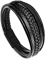 Yellow Chimes Men's Double Magnetic-Clasp Leather Braided Stainless Steel Multi-Layer Wrap Bracelet (Bl