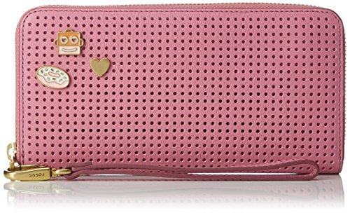 Fossil Damen Geldbörse– Emma Rfid Clutch, Pink (Pink), 2.54x11.11x20 cm (Armband Damen Portemonnaie)