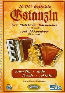 1000 Beliebte Gstanzln Fuer Steirische Harmonika und Akkordeon. Handharmonika, Akkordeon