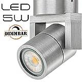LEDANDO Hochwertiger LED Aufbaustrahler schwenkbar dimmbar inkl. LED GU10 Markenstrahler 5W - CNC gefrästes Alu - Silber - warmweiß - für Innen und Außen - IP65