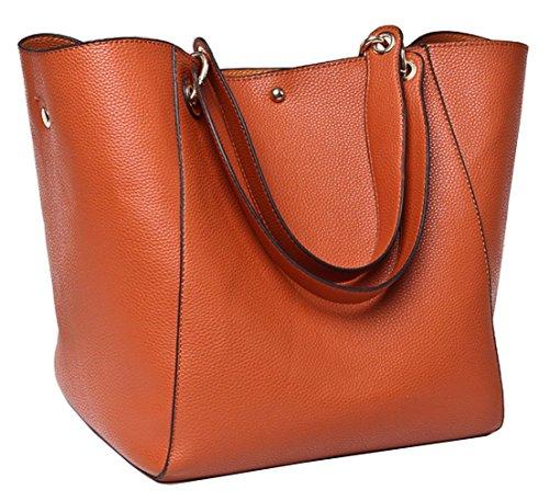 Tibes Moda spalla sacchetto impermeabile borsa del cuoio genuino Marrone
