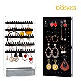 Baskiss Jewelry Box, Acrylic Jewelry Storage Clear Organizer with Sea Salt Gray Velet Holder for Rings Earrings Necklaces Bracelets