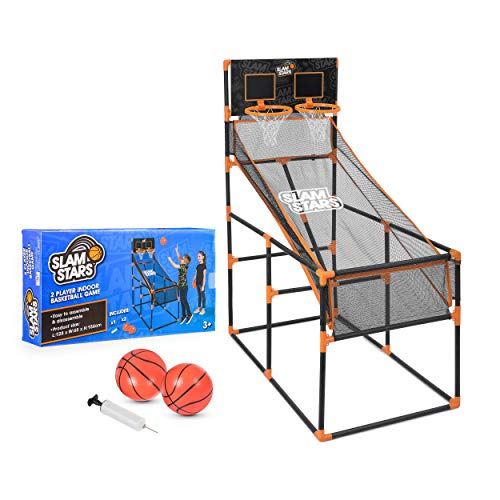 Slam Stars TY6005 Kinder Basketballspiel für 2 Spieler Indoor Outdoor Set mit Shoot Hoop Backboard, Schwarz