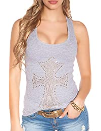 Damen 2-in-1 Ärmelloses Top Shirt Bluse Partytop Crinkle Freizeit S 34 36 38