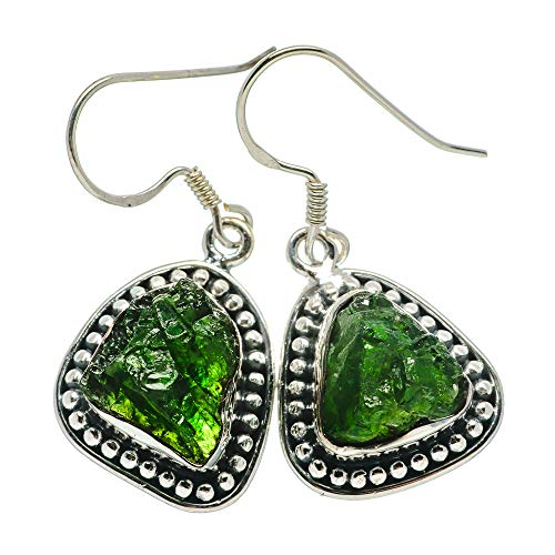 Chrome Diopside, Chrom-Diopsid 925 Sterling Silber Ohrringe 1 1/2