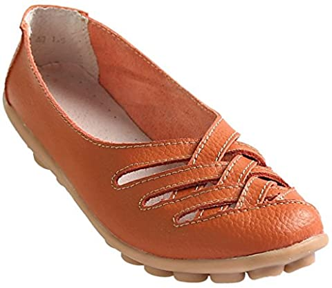 Fangsto Women's Leather Loafers Flats Sandals Slip Ons UK Size 7 Orange