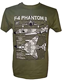 F-4 Phantom II - Aircraft / Military T Shirt with blueprint design