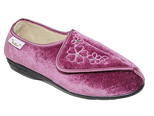 Foster Footwear ,  Damen Durchgängies Plateau Sandalen mit Keilabsatz Pink/Flower