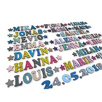 Kleine Holzbuchstaben und Zahlen 4,5cm hoch, Dekobuchstaben, in tollen Farbkombinationen I Inkl. 2 Sternen sowie…