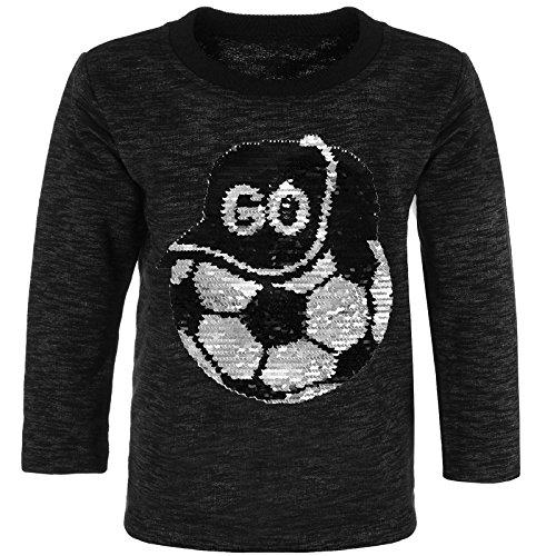 BEZLIT Jungen Sweatshirt Pulli Wende Pailletten Caps Ball 21498, Farbe:Schwarz, Größe:116