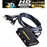 Microware 2 Port KVM Switch with Cables, Plug and Play USB KVM Switch Splitter Box HDMI for Computer, PC, Laptop, Desktop, Monitor, Printer, Keyboard, Mouse Control