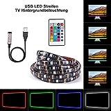 IMMEGE TV Hintergrund Beleuchtung SMD5050 USB LED Streifen 1M-3M 5V LED Band LED Strip mit Fernbedienung für Fernseher Blidschirm (1M [1x 100cm])