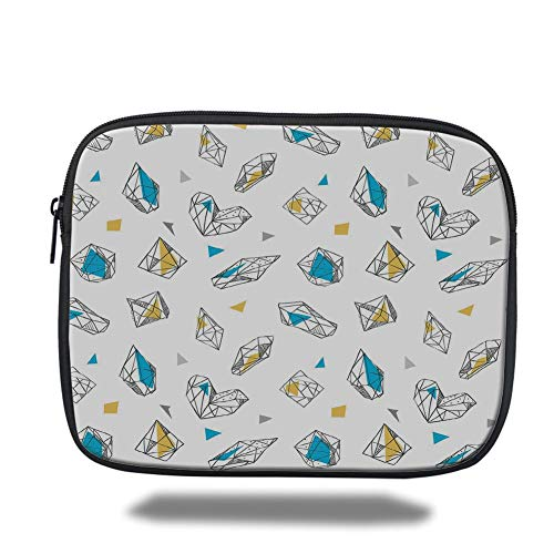 Tablet Bag for Ipad air 2/3/4/mini 9.7 inch,Abstract,Geometric Crystal Figures with Triangles Circles Dimension Lines Print Decorative,White Sky Blue Yellow,3D Print -