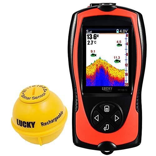 LUCKY Fischfinder Echolot Wireless, Kleiner Fishfinder zum Angeln, Kajakfahren, Kanufahren, Boot Garmin Farb-fishfinder