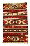 Second Nature Online Tapis géométrique en laine Kilim Kashi Multicolore Commerce équitable 75x 120cm...