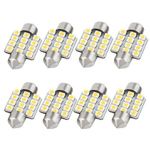 sourcingmap® 8pz. 31mm 3528 12 LED SMD Bianco Caldo Auto Festone Cupola Di Luce (Bianco Festone)