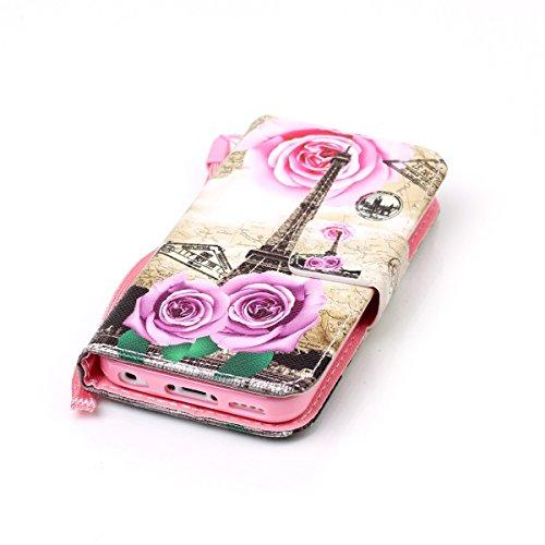 Coque iPhone 5C, Étui en cuir pour iPhone 5C, Lifetrut [Cash Slot] [Porte-cartes] Magnetic Flip Folio Wallet Case Couverture avec sangle pour iPhone 5C [Chat] E206-Paris romantique