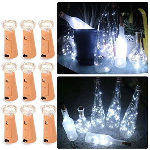 9 pcs led luci, cork luci di forma, luci bottle led decorativi con tappo per bottiglie - del vino bottiglia fata luci luci led string 2 metri/6.5 ft /20 led filo di rame con cacciavite bianco freddo