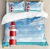 Juego de funda de edredón de playa por Ambesonne, realista ilustración Faro en calma Costa vuelo gaviotas océano paisajes, decorativo juego de cama con fundas de almohada, azul, rojo y crema