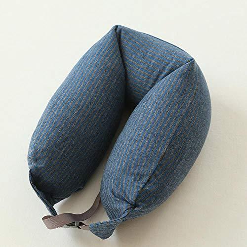 yangshuaizhuanmai Nackenstützkissen aus gewaschener Baumwolle, Nicht Bedruckt Rayures Bleu Clair et Gris (Kostüm Bleu Clair)