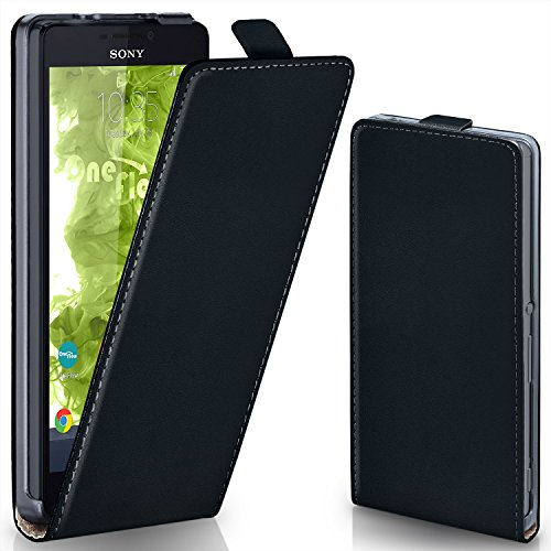 moex Sony Xperia M2 | Hülle Schwarz 360° Klapp-Hülle Etui thin Handytasche Dünn Handyhülle für Sony Xperia M2 / M2 Dual / M2 Aqua Case Flip Cover Schutzhülle Kunst-Leder Tasche