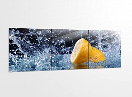 Acrylglasbilder 3 Teilig 150x50cm Zitrone Wasser Tropfen Küche Obst Acrylbild Bilder Acrylglas Wand Bild Kunstdruck 14?5759, Acrylglas Größe 6:BxH Gesamt 150cmx50cm