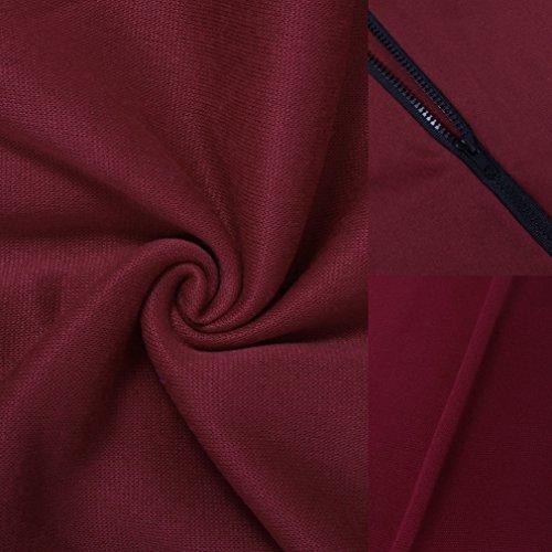 Smile YKK Femme Mateau Sweat-shirt Cache-poussière Polaire Cape Uni Manches Longue Bordeaux