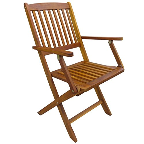 mewmewcat 3 Piece Folding Bistro Set Table and Chairs Outdoor Wooden Furniture Set colonial Solid Acacia Wood