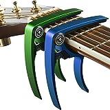 Gitarre Capo (2Pack) für Gitarren, Ukulele, Banjo, Mandoline, Bass–aus Ultra leichtem Aluminium (34g). Für 6Und 12Saiten Instrumente–(schwarz + silber)–PREMIUM Zubehör von Nordic Essentials ™–lebenslange Garantie. Green + Blue