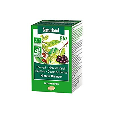 Naturland - Minceur drainage Bio (Thé vert, Marc de raisin, Bouleau, Queue de cerise) - 90 comprimés