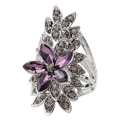 Osmanthusfrag dazzling dito anello hollow fiore zircone intarsiato donne gioielli regalo, purple, us 8
