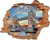 Fototapete 3D Bild Tapete Loch in der Wand der Tower Bridge am Abend Sonnenuntergang Orange Himmel London