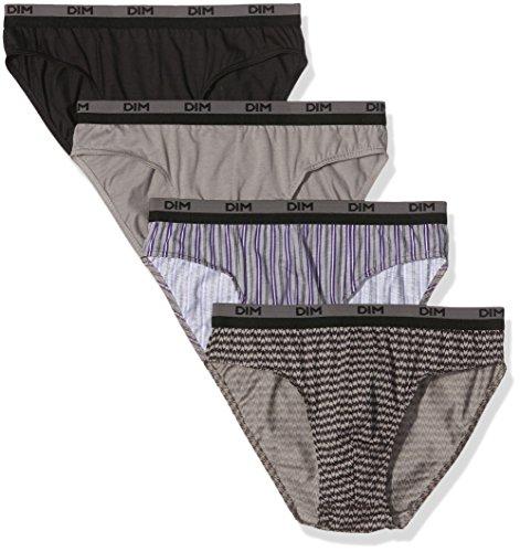 Dim - 100% Coton - Slip - Uni - Lot de 4 - Homme Multicolore (Imprimé baroque + uni noir)