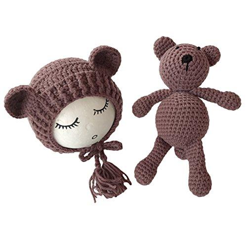 Coberllus Neugeboren Shooting babyfotografie Stützen Jungen Mädchen Handgefertigte Strick Foto Stützen Hut mit Puppe (Dark Brown)