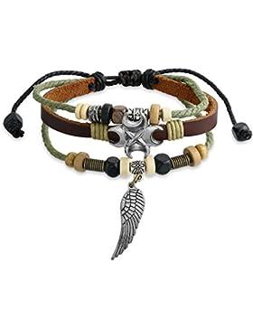 Bling Jewelry Zen Surf Armband Leder Wrap Angel Wing Feather Versilbert