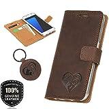 SURAZO Graphit Animals - Premium Vintage Ledertasche Schutzhülle Wallet Case aus Echtesleder Nubukleder Farbe Nussbraun für Lenovo/Motorola Moto G5 (5,00 Zoll)