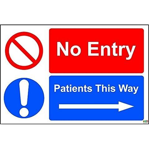No Entry pazienti questo modo (destra)–Cartello adesivo vinilico 300mm x 150mm