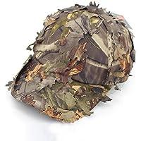 Airsoft táctico de hojas camuflaje Francotirador Boonie Hats Militar para Hombres/camuflaje transpirable gorro de caza gorras de béisbol de la persiana, marrón (Baseball Brown)