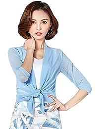Tomwell Donna Estivo Elegante Cardigan 3 4 da Maniche Corte Cardigan Bolero  Corto a Taglio 3ce3d797eea