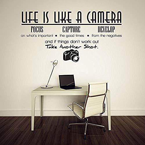 Das Leben ist wie eine Kamera Fokus-Capture entwickelt und eine andere Linse Vinyl Wandaufkleber 2 3 x 1 2 genommenWandaufkleber Wand-Aufkleber Fototapete Wandtattoo Wanddekoration